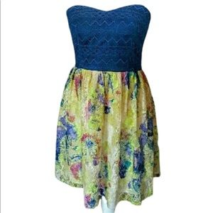 Strapless Navy and Yellow Sweetheart Dress